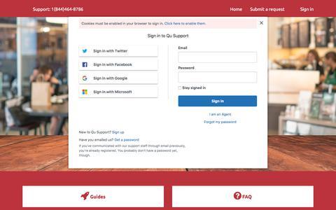 Screenshot of Support Page qubeyond.com - Qu Support - captured Sept. 4, 2019