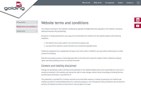 Screenshot of Terms Page golding.com.au - Golding Contractors : Website terms and conditions - captured Nov. 11, 2016
