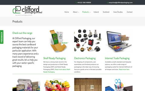 Screenshot of Products Page cliffordpackaging.com - Cardboard packaging products. Standard and bespoke designs - captured Sept. 28, 2018