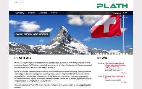 Screenshot of Home Page plath-ag.ch - PLATH AG - Solutions for COMINT, EW and ICM - captured Sept. 26, 2014