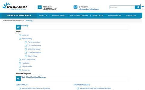 Screenshot of Site Map Page prakashoffset.com - Sitemap - Prakash Web Offset Pvt. Ltd - captured Nov. 10, 2016