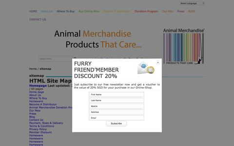 Screenshot of Site Map Page animalmerchandise.com - Buy Animal Themed sitemap Online - captured July 25, 2016