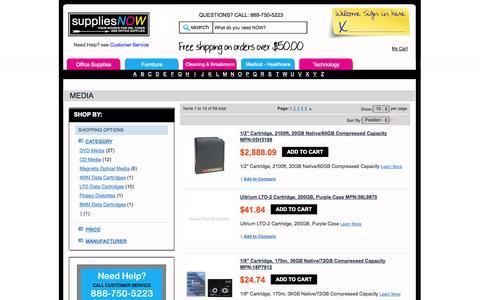 Screenshot of Press Page suppliesnow.com - Media - Drives & Media - Technology - captured Sept. 30, 2014