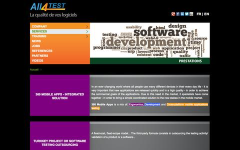Screenshot of Services Page all4test.com - Services - All4Test - captured Sept. 30, 2014