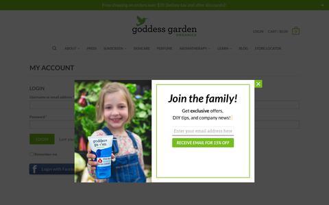 Screenshot of Login Page goddessgarden.com - My Account | Goddess Garden Organics| Safe for People and Planet - captured Nov. 5, 2018
