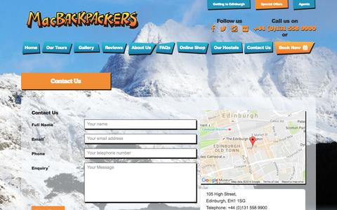 Screenshot of Contact Page macbackpackers.com - MacBackpackers | Contact Us - captured Nov. 17, 2016