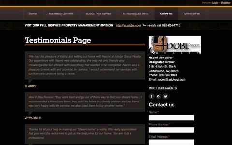 Screenshot of Testimonials Page adobegr.com - Testimonials Page |  Sedona Homes for Sale, Property Search in Sedona - captured Nov. 21, 2016