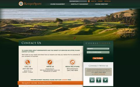 Screenshot of Contact Page kempersports.com - Golf Course Management | Hospitality Management | KemperSports - captured Sept. 22, 2014