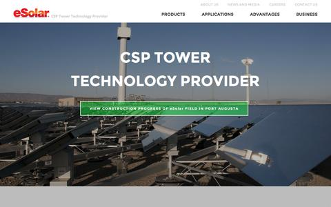 Screenshot of Home Page esolar.com - Concentrated Solar Power Tower Technology Provider Ľ eSolar - captured Dec. 16, 2015
