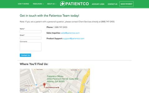 Screenshot of Contact Page patientco.com - Contact Us | Patientco - captured Nov. 17, 2015