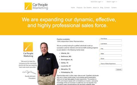 Screenshot of Jobs Page carpeoplemarketing.com - Car People Marketing Careers - captured Oct. 1, 2014