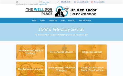 Screenshot of Services Page thewelldogplace.com - Holistic Veterinary Services in Claremont CA |  The Well Dog Place - captured Oct. 31, 2017