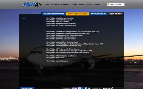 Screenshot of FAQ Page mlwair.com - MLW Air - FAQs - captured Oct. 3, 2014