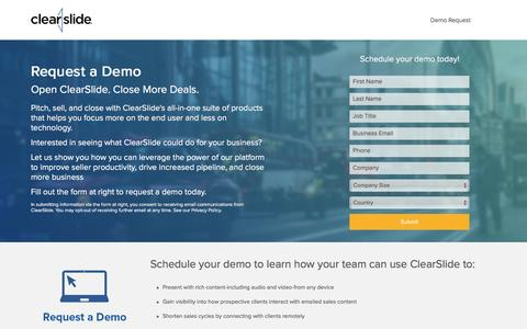 Screenshot of Landing Page clearslide.com - Request a Demo | ClearSlide - captured Aug. 17, 2016