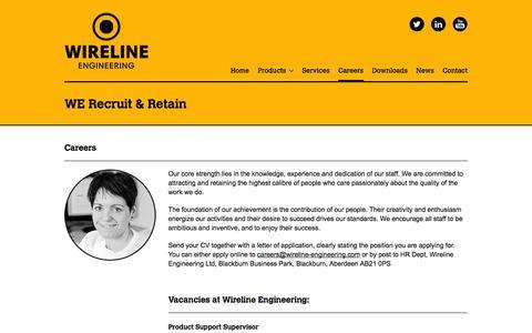Screenshot of Jobs Page wireline-engineering.com - Careers - Wireline Engineering - captured Oct. 7, 2014