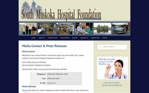Screenshot of Press Page healthmuskoka.ca - Media Contact & Press Releases - captured March 12, 2016
