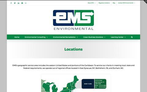 Screenshot of Locations Page emsenv.com - Locations | EMS Environmental, Inc. - captured July 10, 2017