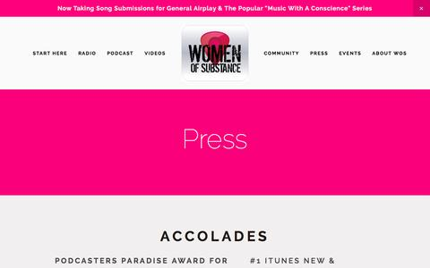 Screenshot of Press Page wosradio.com - Press — Women of Substance Radio & Podcast - captured Feb. 11, 2017
