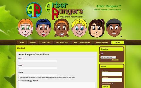 Screenshot of Contact Page arborrangers.com - Contact | Arbor Rangers™ - captured Oct. 4, 2014