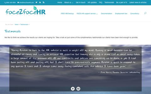 Screenshot of Testimonials Page face2facehr.com - Testimonials - face2faceHR - captured Aug. 5, 2016