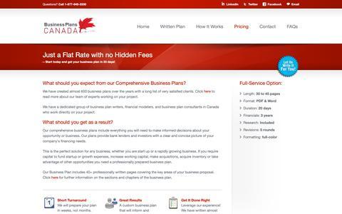 Screenshot of Pricing Page businessplanscanada.com - Affordable Business Planning - BusinessPlansCanada - captured Nov. 6, 2018