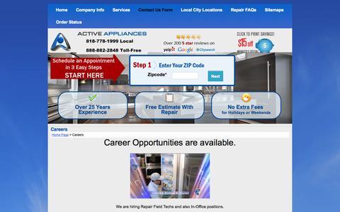Screenshot of Jobs Page activeappliances.com - Career Opportunities - captured Oct. 1, 2014