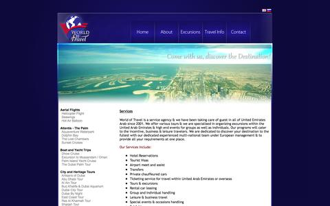 Screenshot of Services Page worldof.travel - World of Travel - captured Oct. 9, 2014