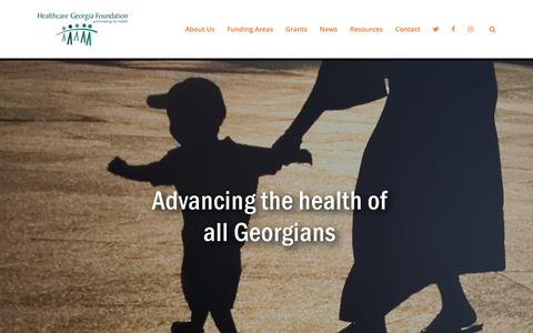 Screenshot of Home Page healthcaregeorgia.org - Healthcare Georgia Foundation – Advancing the health of all Georgians - captured Nov. 10, 2018