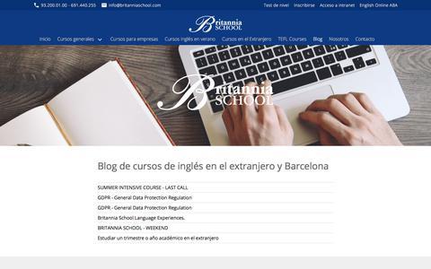 Screenshot of Blog britanniaschool.com - Blog de cursos de inglés en el extranjero y Barcelona - captured Aug. 4, 2018
