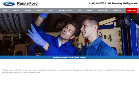 Screenshot of Jobs Page rangeford.com.au - Employment - Range Ford - captured June 19, 2017
