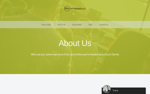 Screenshot of About Page bethelharvestchurch.com - About Us - Bethel Harvest Church - captured Aug. 1, 2018
