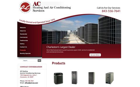 Screenshot of Products Page achvac.com - HVAC System Sales In Charleston - captured June 17, 2016