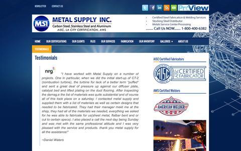Screenshot of Testimonials Page structuralsteelfabricatorslosangeles.com - Testimonials | Metal Supply Inc. - captured Oct. 27, 2014