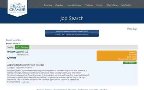 Screenshot of Jobs Page fauquierchamber.org - Job Search - Fauquier Chamber of Commerce, VA - captured Nov. 25, 2016