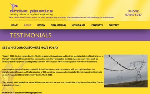Screenshot of Testimonials Page activeplastics.co.nz - Active Plastics > ABOUT > Testimonials - captured May 29, 2017