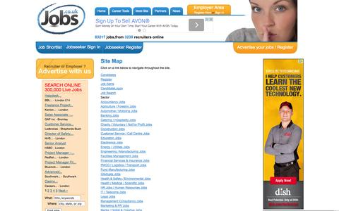 Screenshot of Site Map Page jobs.co.uk - Jobs.co.uk - UK Job Site, Jobs Search for Careers - Site Map - captured Sept. 19, 2014