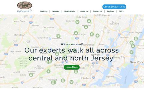 Screenshot of Home Page k9experts.com - Dog Daycare, Dog Boarding, Dog Walking, Dog Grooming - captured Oct. 14, 2018