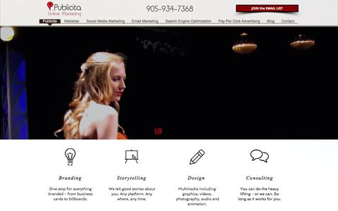 Screenshot of Home Page publicita.ca - Publicita Online Marketing - captured Jan. 24, 2016