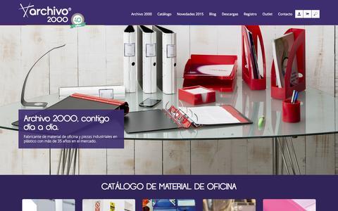Screenshot of Home Page archivo2000.es - ARCHIVO 2000 | Fabricantes de artículos de oficina y piezas industriales en plástico - captured Sept. 11, 2015
