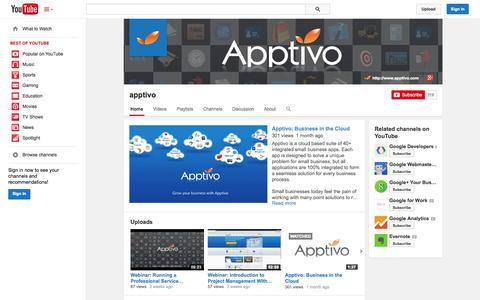 Screenshot of YouTube Page youtube.com - apptivo  - YouTube - captured Oct. 23, 2014