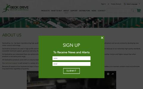 Screenshot of About Page geckodrive.com - Digital Step Motor and Servo Drives Made In The USA | Geckodrive | Geckodrive - captured Sept. 27, 2018