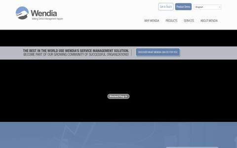 Screenshot of Home Page wendia.com - Wendia - Making Service Management Happen | Point of Business: Professional Service Management Software - captured Jan. 10, 2016