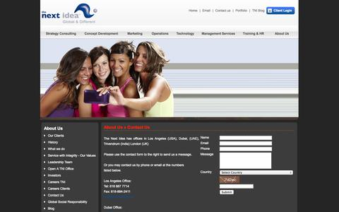 Screenshot of Contact Page thenextidea.net - The Next Idea™ - Restaurant Consultants, Restaurant Consulting Firm - captured Sept. 24, 2014