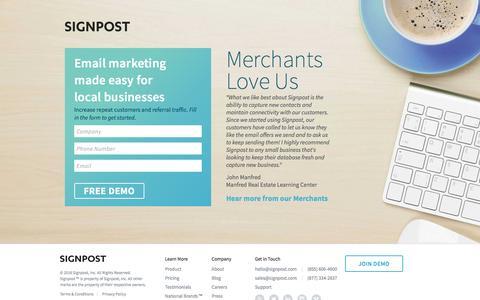 Screenshot of Landing Page signpost.com - Signpost Email Marketing - captured Sept. 19, 2016