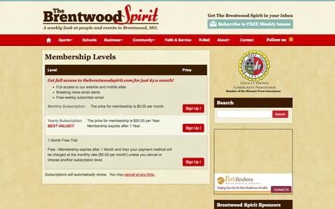 Screenshot of Signup Page thebrentwoodspirit.com - Membership Levels | The Brentwood Spirit - captured Oct. 7, 2014