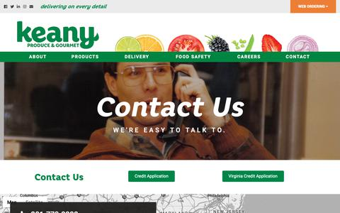 Screenshot of Contact Page keanyproduce.com - Contact | Keany Produce - captured Dec. 20, 2018