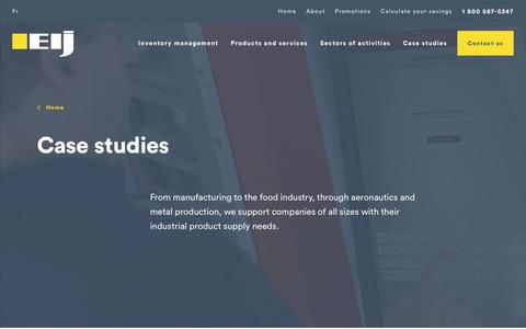 Screenshot of Case Studies Page eij.ca - Saving and inventory management - EIJ - Quebec - Ontario - captured Sept. 25, 2018