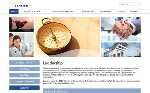 Screenshot of Team Page sensient.com - Leadership   Sensient Technologies - captured Dec. 2, 2016
