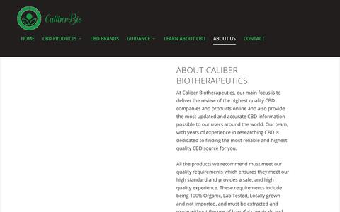 Screenshot of About Page caliberbio.com - About Us - CBD Online Source - Caliber Biotherapeutics - captured Sept. 26, 2018