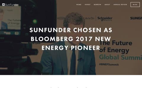Screenshot of Blog sunfunder.com - SunFunder Blog — SunFunder - captured May 9, 2017